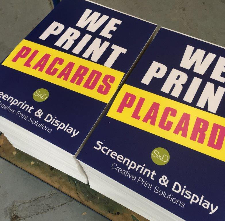 Printed placards and protest boards