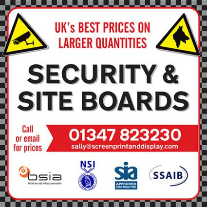 Security signs and warning boards