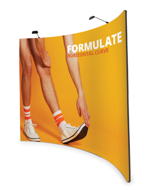 Formulate curved fabric pop up stands