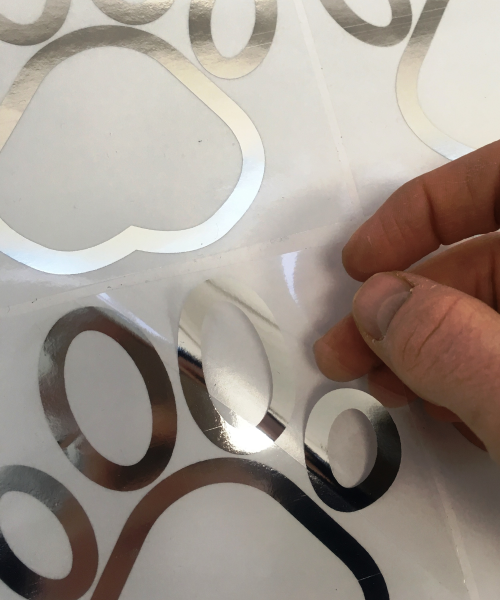 Silver and transparent stickers
