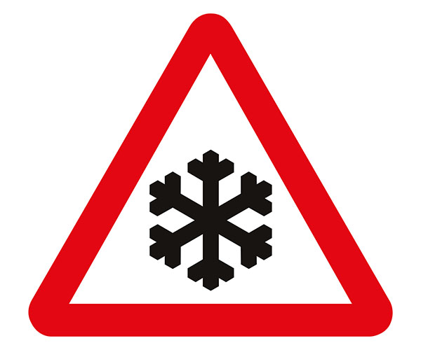 Temporary road snow sign