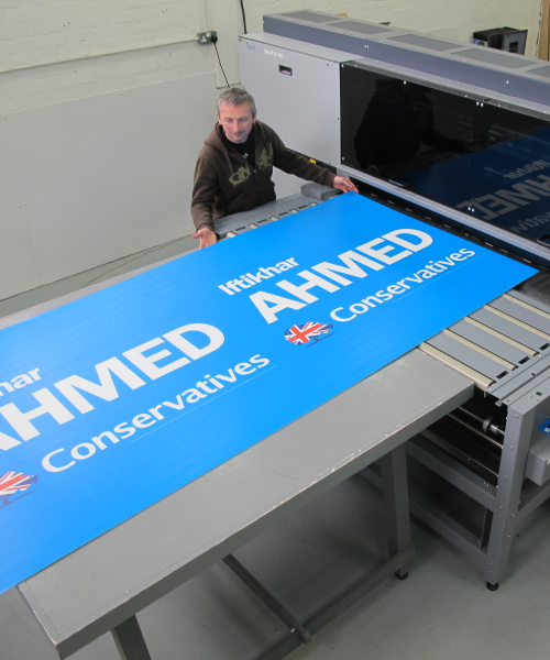 Large format temporary Correx election signs