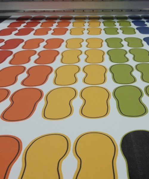 Shoe print floor stickers