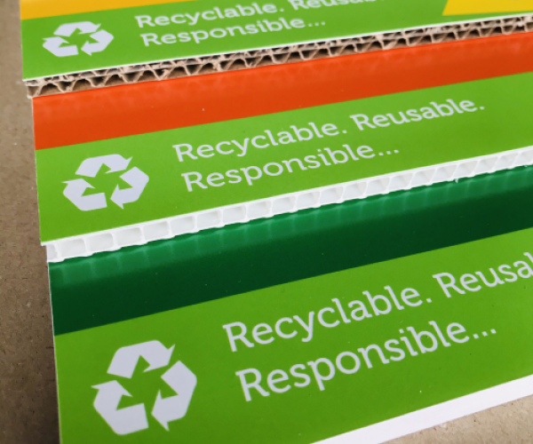 Recycled or recyclable plastic printing
