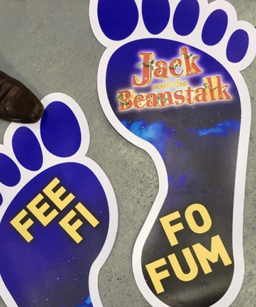 Giant large format foot print floor stickers