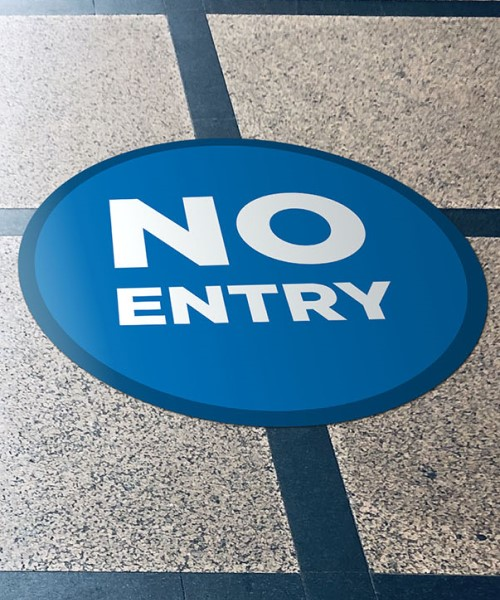 No Entry floor stickers on tiled flooring