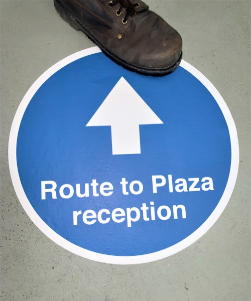Route arrow markers and one way system social distancing floor stickers