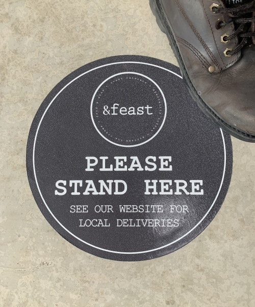 Please stand here floor stickers