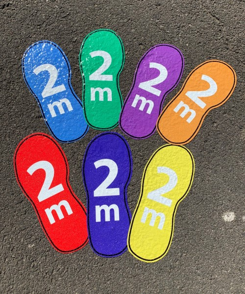 rainbow colourful floor social distancing footprint stickers for schools