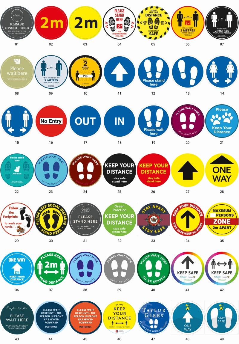 Indoor and outdoor floor stickers design examples