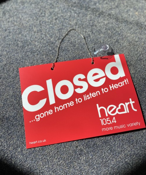 Open and closed custom printed signs